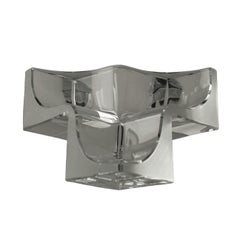 Daum Three Section Cubist Clear and Frosted Crystal Vide Poche Bowl