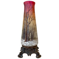 "Daum ""Winter Scene"" Vase or Lamp Body on Art Nouveau Bronze Base, circa 1900"