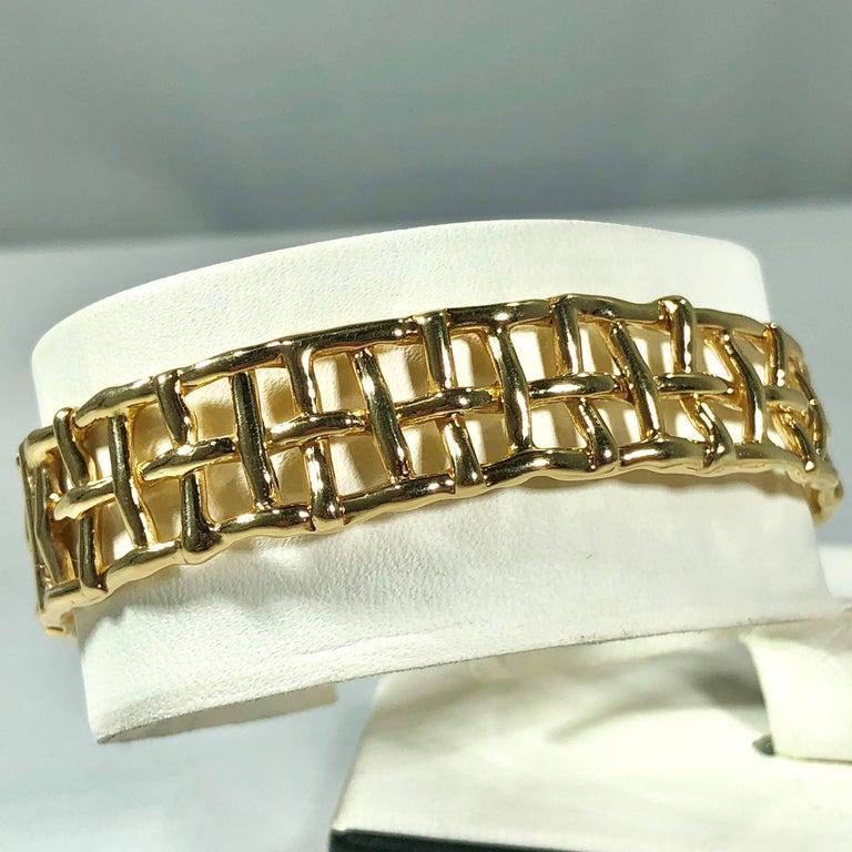 Daunis 14 Karat Yellow Gold Hinged Cuff Bracelet For Sale 1