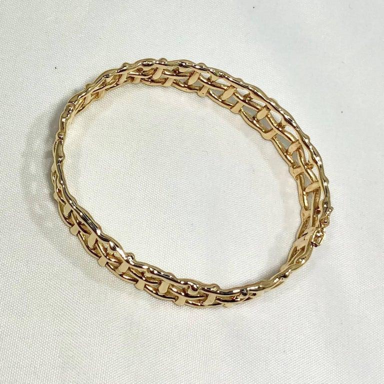 Daunis 14 Karat Yellow Gold Hinged Cuff Bracelet For Sale 2