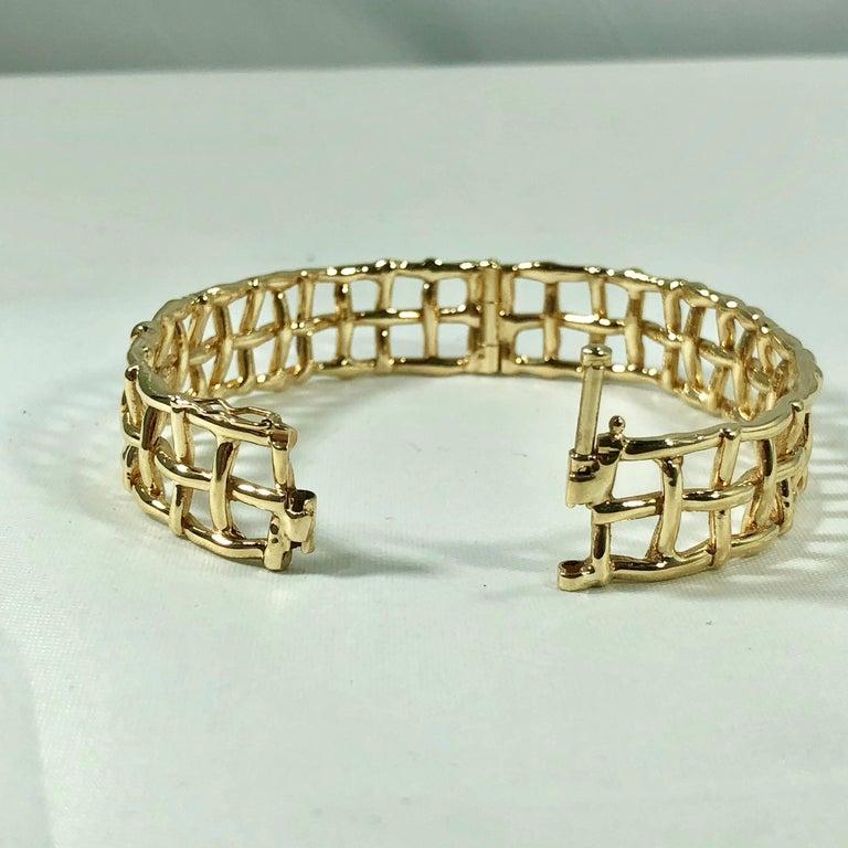 Daunis 14 Karat Yellow Gold Hinged Cuff Bracelet For Sale 3