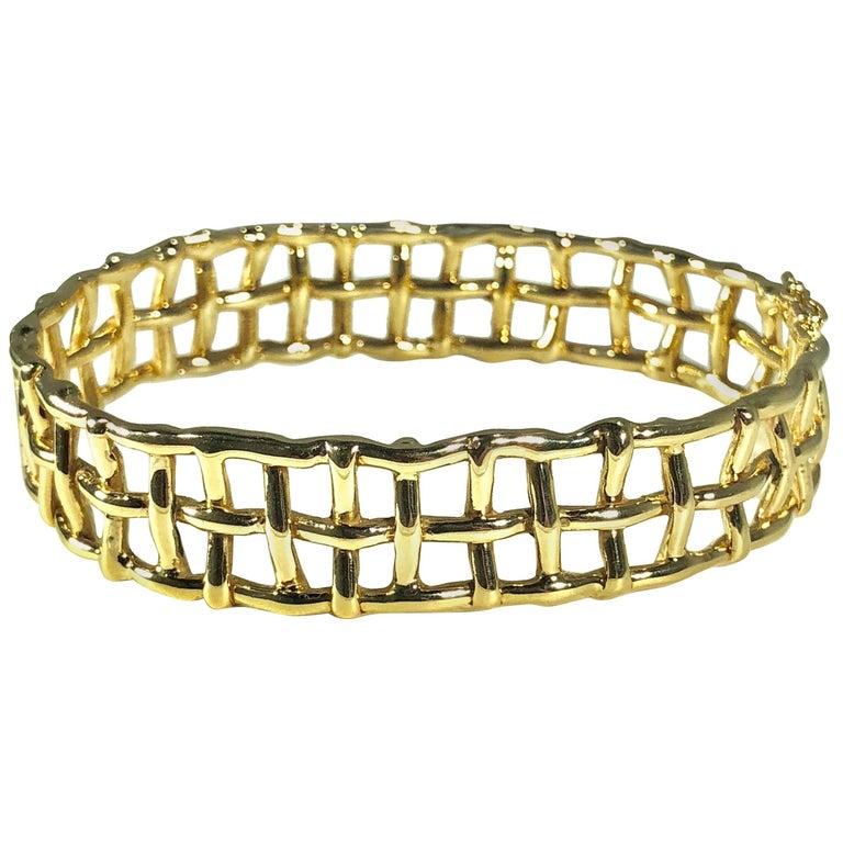 Daunis 14 Karat Yellow Gold Hinged Cuff Bracelet For Sale