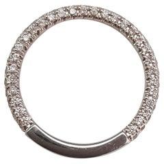 Daussi Designer 14 Karat White Gold Diamond Wedding Band, Flat One Side to Fit