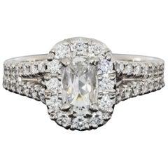 Daussi White Gold 1.26 Carat Cushion Diamond Halo Engagement Ring