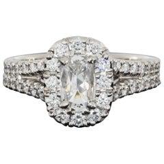 Daussi White Gold 1.71 Carat Cushion Diamond Halo Engagement Ring