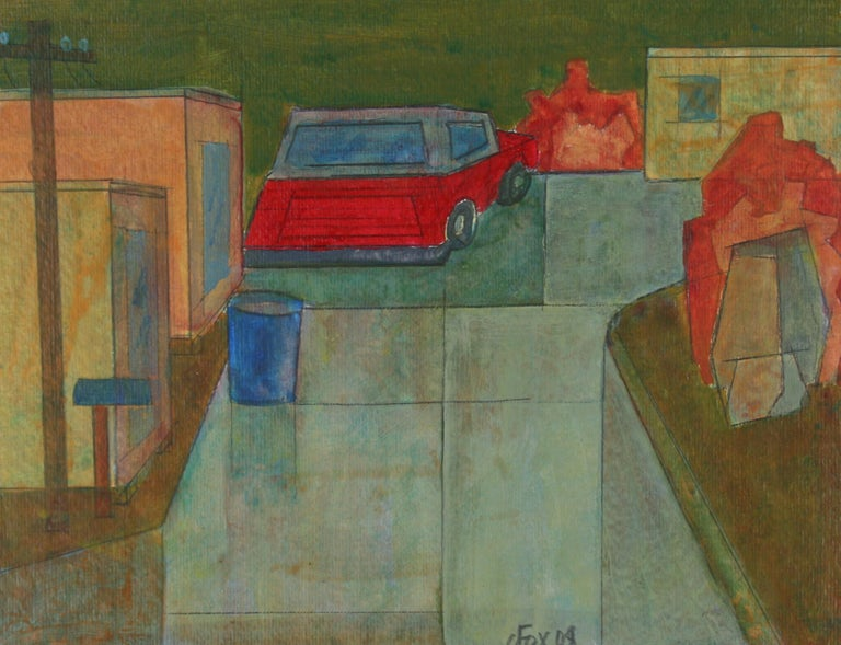 This 2008 acrylic and graphite on paper city scene of a Los Angeles neighborhood with a red car is by Viennese/ Southern California artist Dave Fox (1920-2011). Fox received his BFA, MA and MFA from California State University, Fullerton. He was