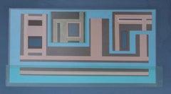"""Suburbia"" 1960s Geometric Serigraph in Blue"
