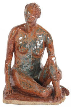 Clay Sculpture of Seated Nude in Burnt Orange 2001