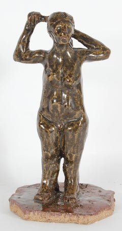 Clay Sculpture of Standing Female Nude in Brown, April 2001