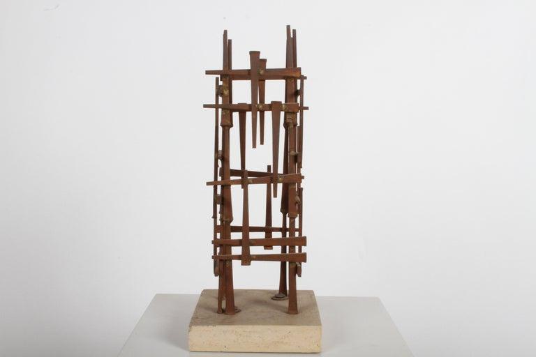 Mid-Century Modern Dave Grossman Brutalist Nail Sculpture, circa 1960s For Sale