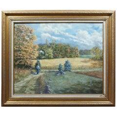 "Dave Hill ""Autumn Walk"" Impressionist Landscape Oil on Canvas Framed"