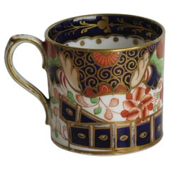 Davenport Coffee Can Porcelain Hand Painted Gilded Imari Fence Ptn, circa 1808