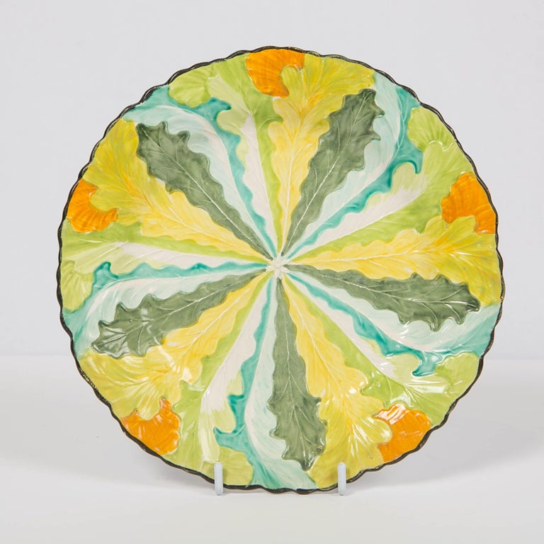 Hand-Painted Davenport Oak Leaf Pattern Plate Made in England, circa 1810 For Sale