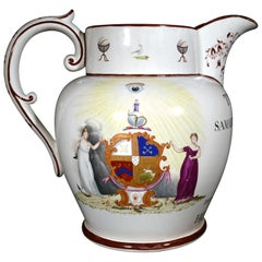 Davenport Pearlware Pottery Massive Presentation Jug, Arms of the Oddfellows