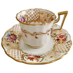 Davenport Porcelain Coffee Cup, Gilt and Hand Painted Flowers, Regency