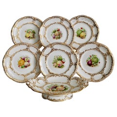 Davenport Porcelain Dessert Service, White, Handpainted Fruits, Victorian 1869