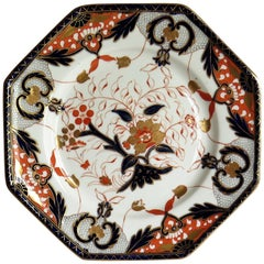 Davenport Porcelain Plate Hand Painted and Gilded Pattern, England Circa 1875