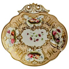 Davenport Porcelain Serving Dish, Salmon, Gilt and Flowers, circa 1830