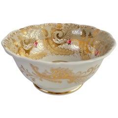 Davenport Porcelain Slop Bowl, Grey, Gilt and Roses, Rococo Revival, circa 1835
