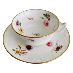 Davenport Teacup, Fine Moulding and Hand Painted Flowers, circa 1820