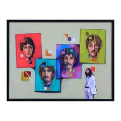 Colorful Abstract Modern Original Beatles Portrait Painting with Collage