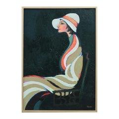 Abstract Modern Enhanced Giclée Art Noveau Woman with Hat Portrait