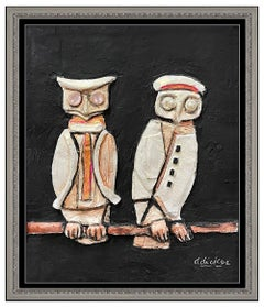 David Adickes Original Oil Painting Relief Sculpture Signed Owls Birds Artwork