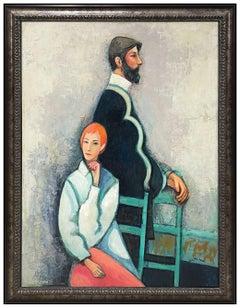 David Pryor Adickes Original Oil Painting On Board Signed Large Portrait Art