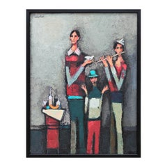 """""""Flutist with Two Friends"""" Abstract Modern Figurative Musician Portrait Painting"""