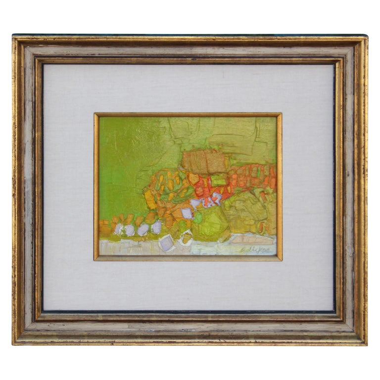 Whimsical abstract painting by Texas artist David Adickes.  Adickes builds up oil paint in bright greens, oranges and yellows in this piece. Circa 1960s.  Dimensions of painting itself: H 7.88 in. x W 9.75 in.    Artist Biography: Born in Huntsville