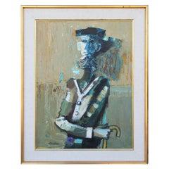 """Man With Cane"" Textured Impressionist Impasto Portrait of a Blue Man"