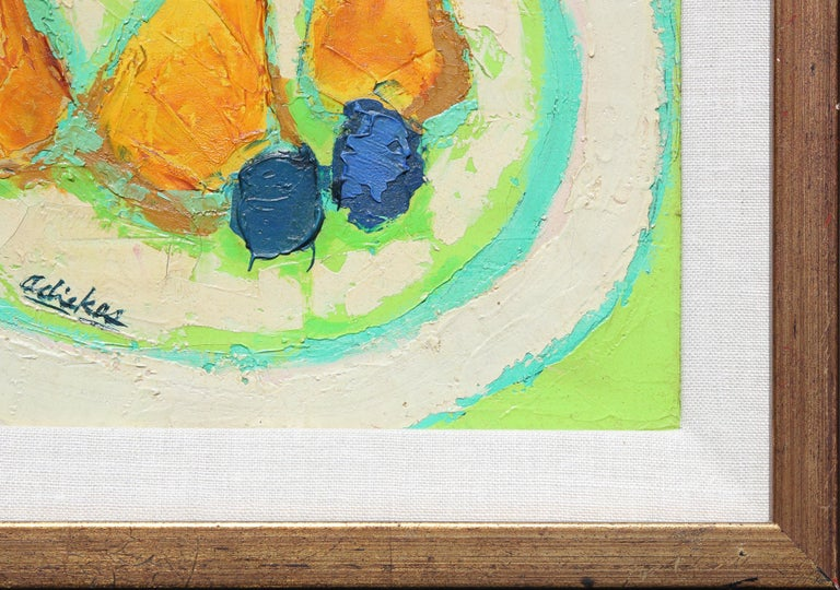 Post-Impressionist Yellow and Green Still Life of Pears and Plums Painting For Sale 6