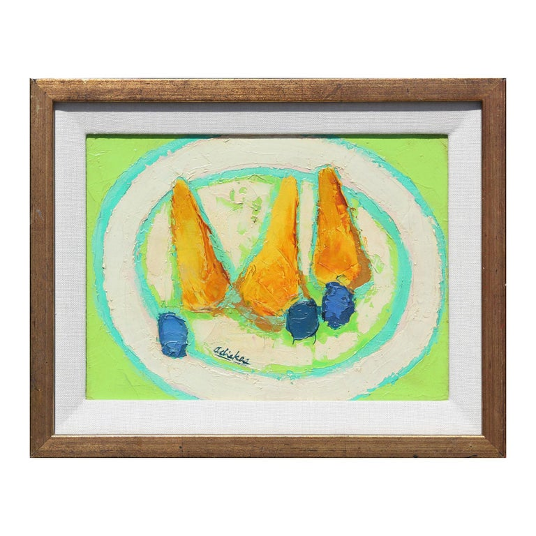 David Adickes Abstract Painting - Post-Impressionist Yellow and Green Still Life of Pears and Plums Painting