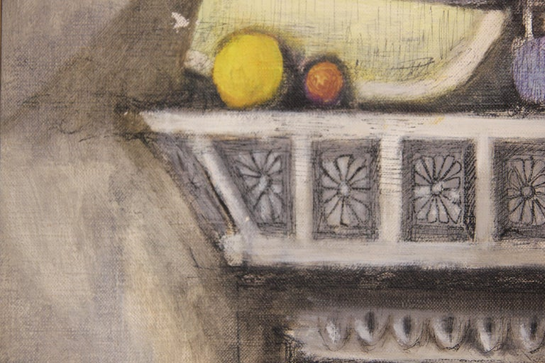Grey and neutral toned impressionist style painting with bottles and fruit. The work is signed by the artist on the back and front of the work. It is dated and titled by the artist as well. The canvas is framed in a gold wooden frame with a light