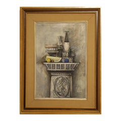 """""""Still Life for Ann Holmes"""" Grey and Neutral Toned Impressionist Painting"""