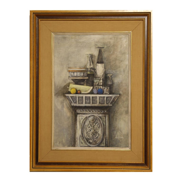 """David Adickes Abstract Painting - """"Still Life for Ann Holmes"""" Grey and Neutral Toned Impressionist Painting"""
