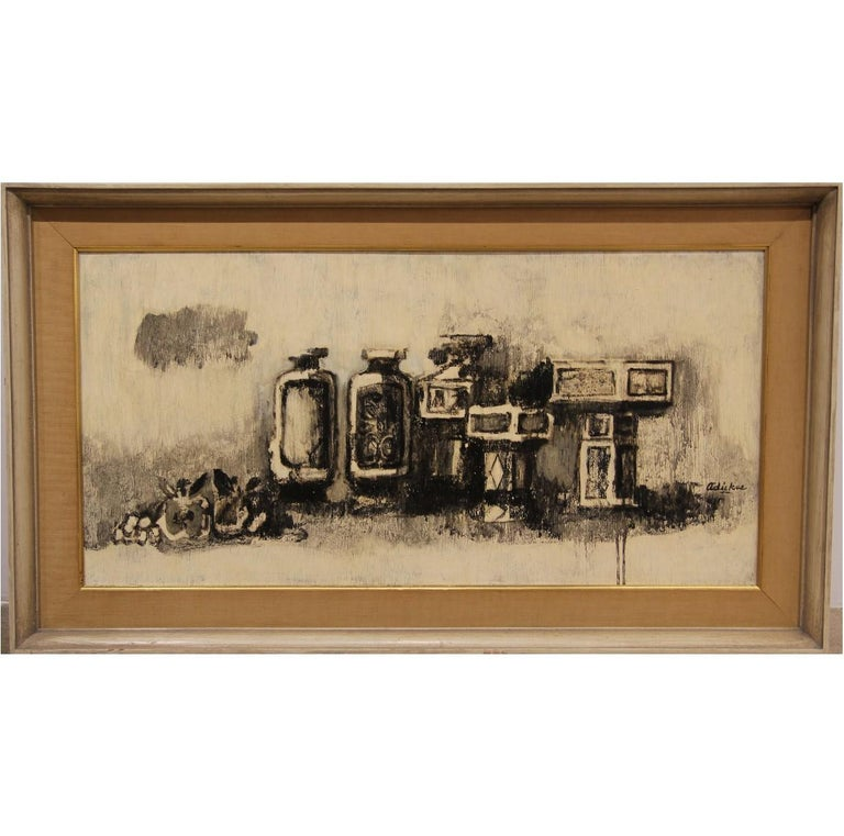 "David Adickes Landscape Painting - ""Still Life on White, Kyoto"" Black and Tan Impressionist Painting"