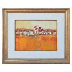 Textured Warm Orange and Red Toned Abstract Landscape Painting