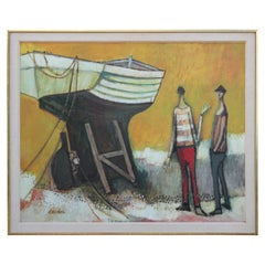 Untitled Post Impressionist Figurative Painting with a Boat