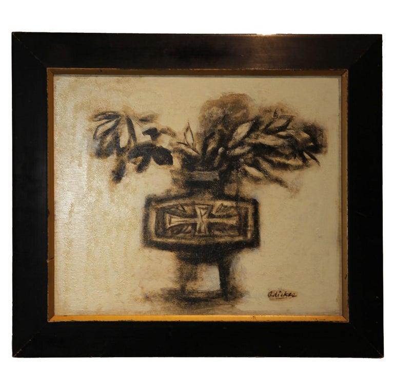 "David Adickes Still-Life Painting - ""Vase and Branches, Kyoto"" Impressionist Style Still Life"
