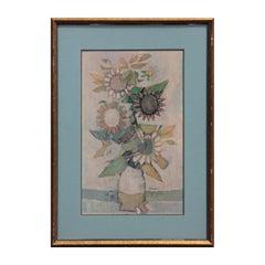 Impressionist Sunflower Floral Still Life Pencil Signed Print