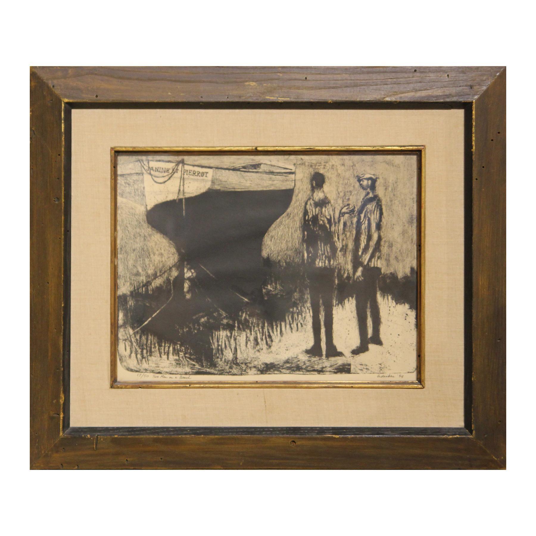 """Two Men on a Beach"" Post-Impressionist Black Figurative Lithograph Print"