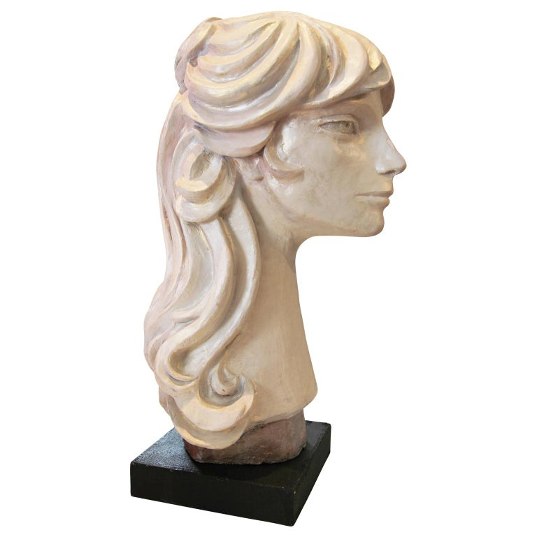 Modern Abstract Cast Stone Female Bust Portrait Sculpture of Julie Burrows - Brown Abstract Sculpture by David Adickes