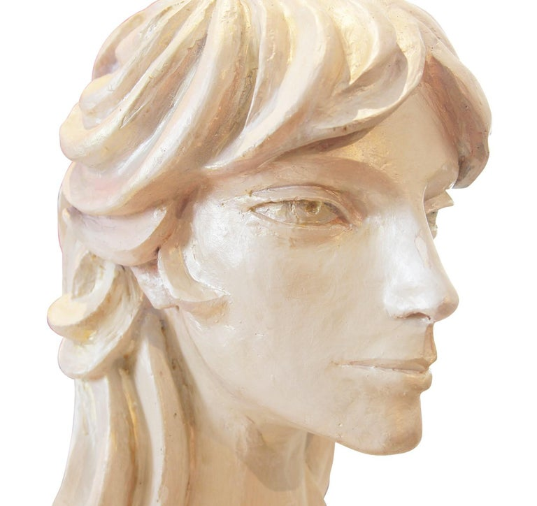 Modern Abstract Cast Stone Female Bust Portrait Sculpture of Julie Burrows For Sale 1