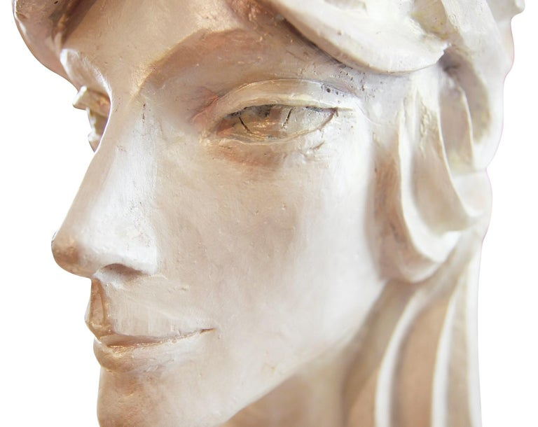 Modern Abstract Cast Stone Female Bust Portrait Sculpture of Julie Burrows For Sale 2
