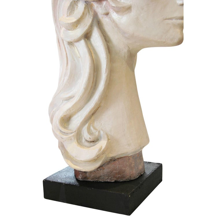 Modern Abstract Cast Stone Female Bust Portrait Sculpture of Julie Burrows For Sale 5