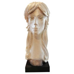 Modern Abstract Cast Stone Female Bust Portrait Sculpture of Julie Burrows