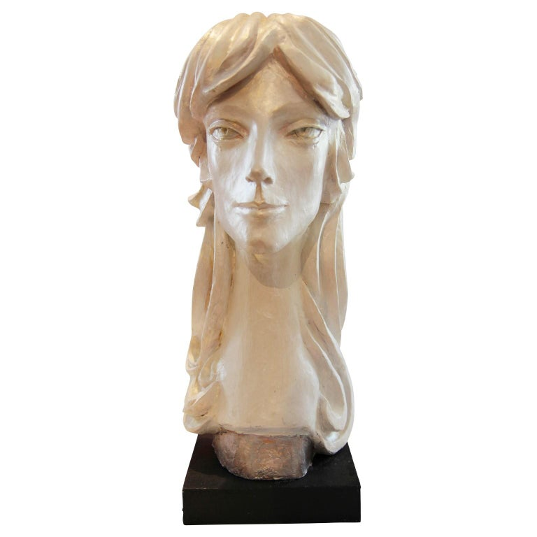 David Adickes Abstract Sculpture - Modern Abstract Cast Stone Female Bust Portrait Sculpture of Julie Burrows