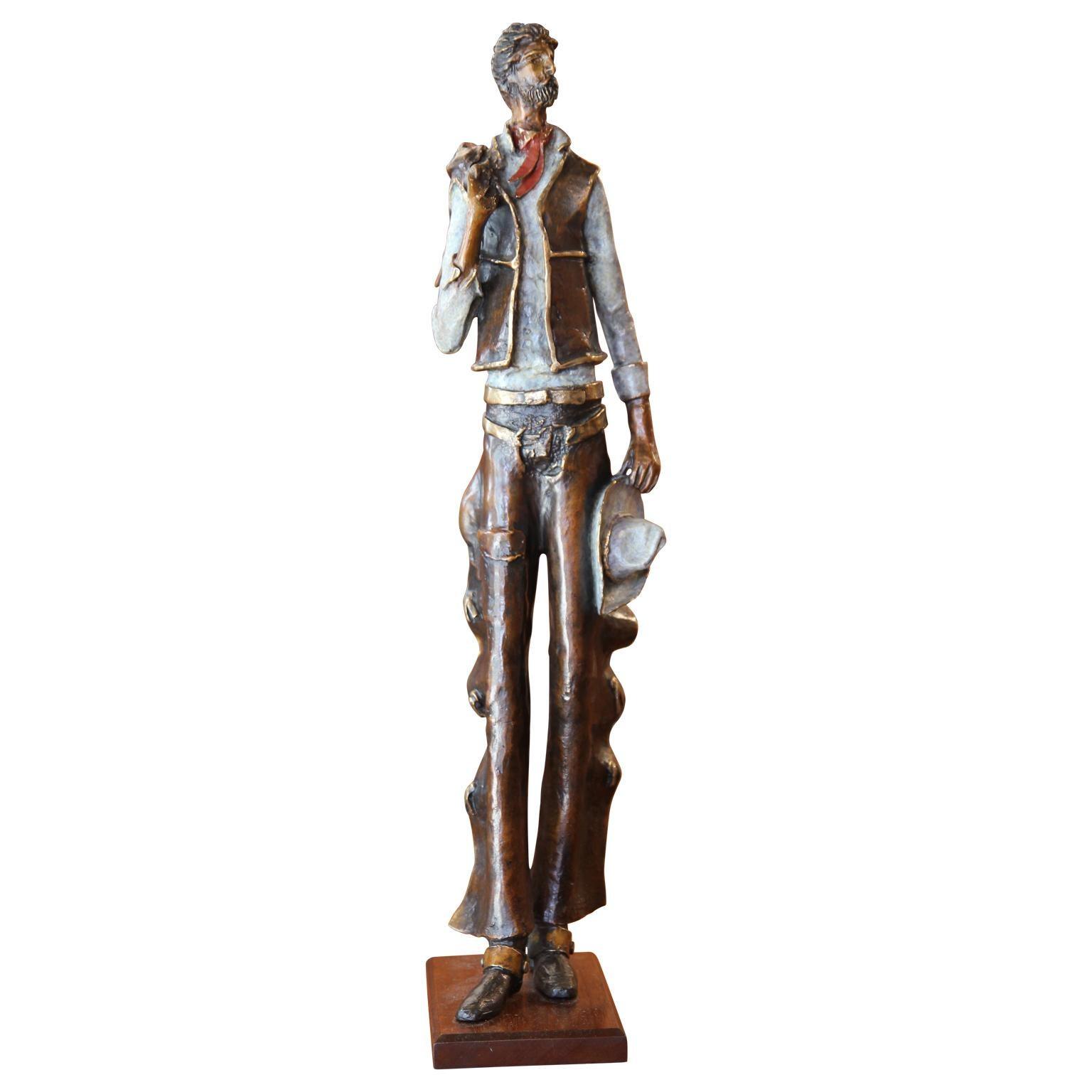 Modern Abstract Western Cowboy Bronze Metal Sculpture
