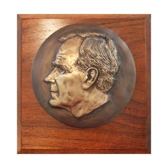 Modern High Relief George Bush Cast Metal Sculpture